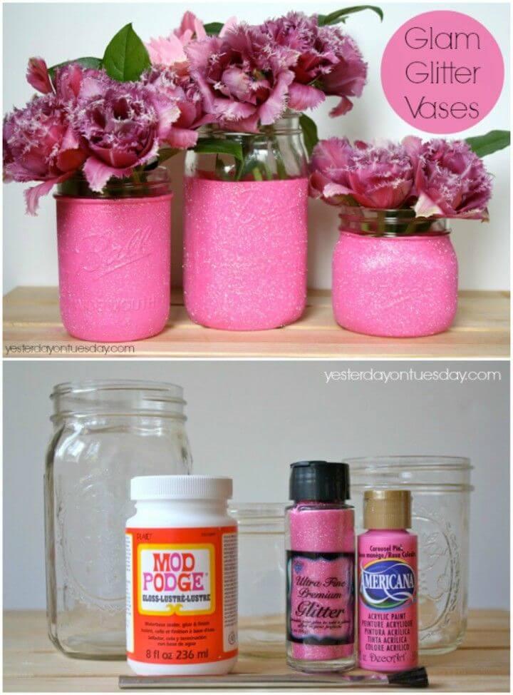 DIY Glam Glitter Vases