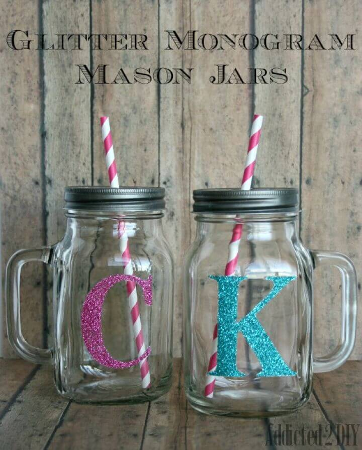 DIY Glitter Monogram Mason Jars