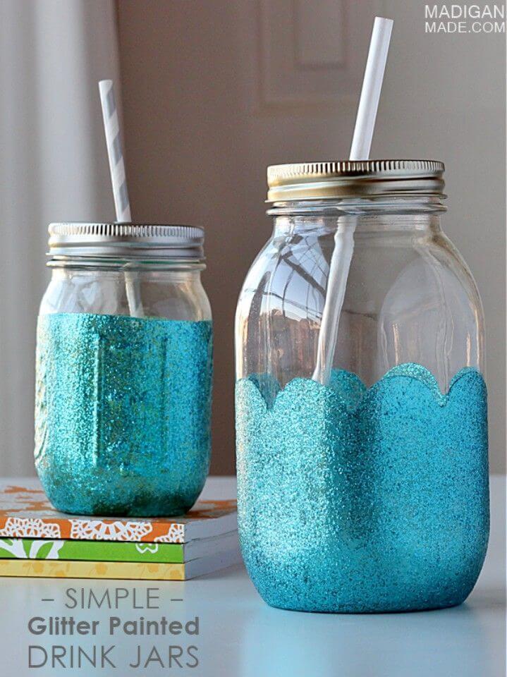 DIY Glittered Mason Jar Drink Cups