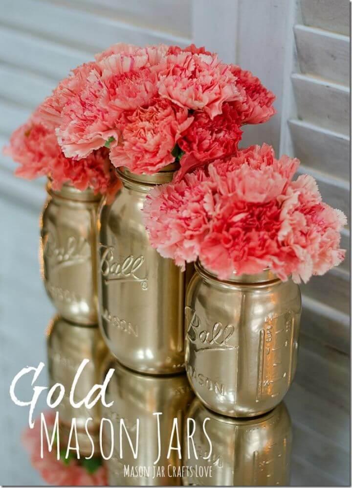 DIY Gold Spray Painted Mason Jar Tutorial