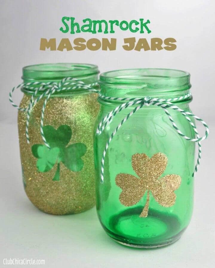 DIY Hand Tinted Shamrock Mason Jars