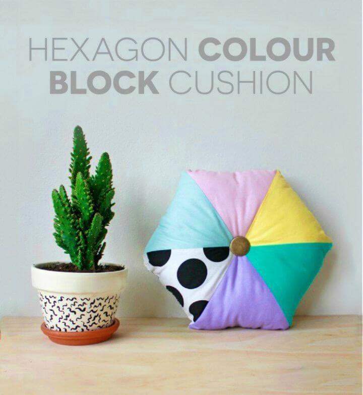 DIY Hexagon Colour Block Cushion, DIY, easy DIY, quick DIY, cheap DIY projects, DIY color blocks, color blocks, DIY cushion, DIY color block cushion, DIY hexagon cushion.