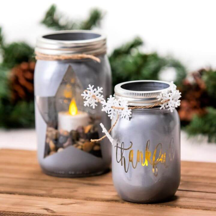 DIY Holiday Display With Mason Jar Lights