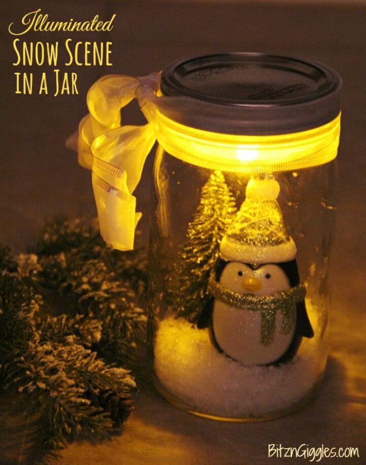 DIY Illuminated Snow Scene in a Jar