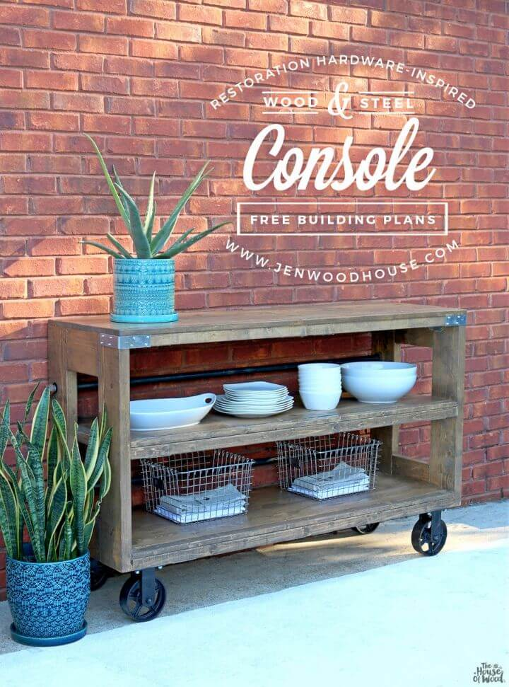 DIY Industrial Wood and Steel Console