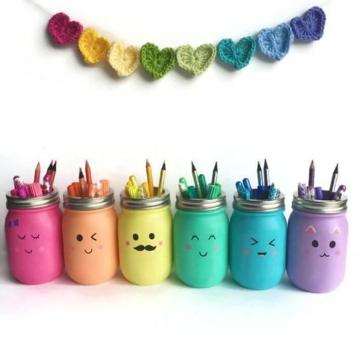 DIY Kawaii Inspired Mason Jar Pen Marker and Pencil Holders