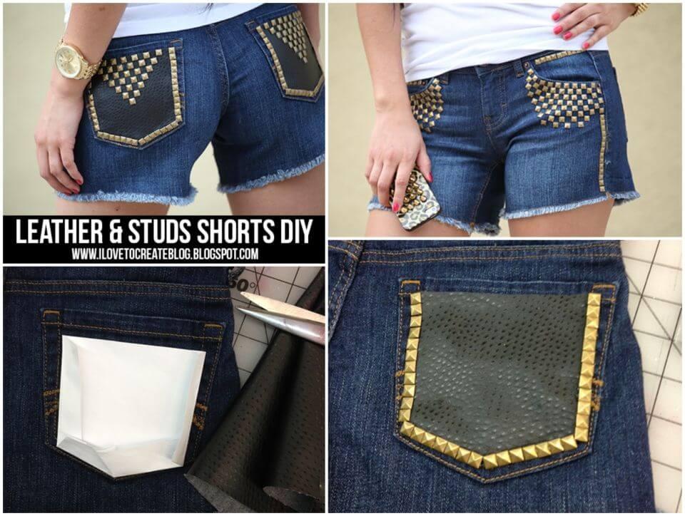 DIY Leather Studs Shorts Summer Gift Idea
