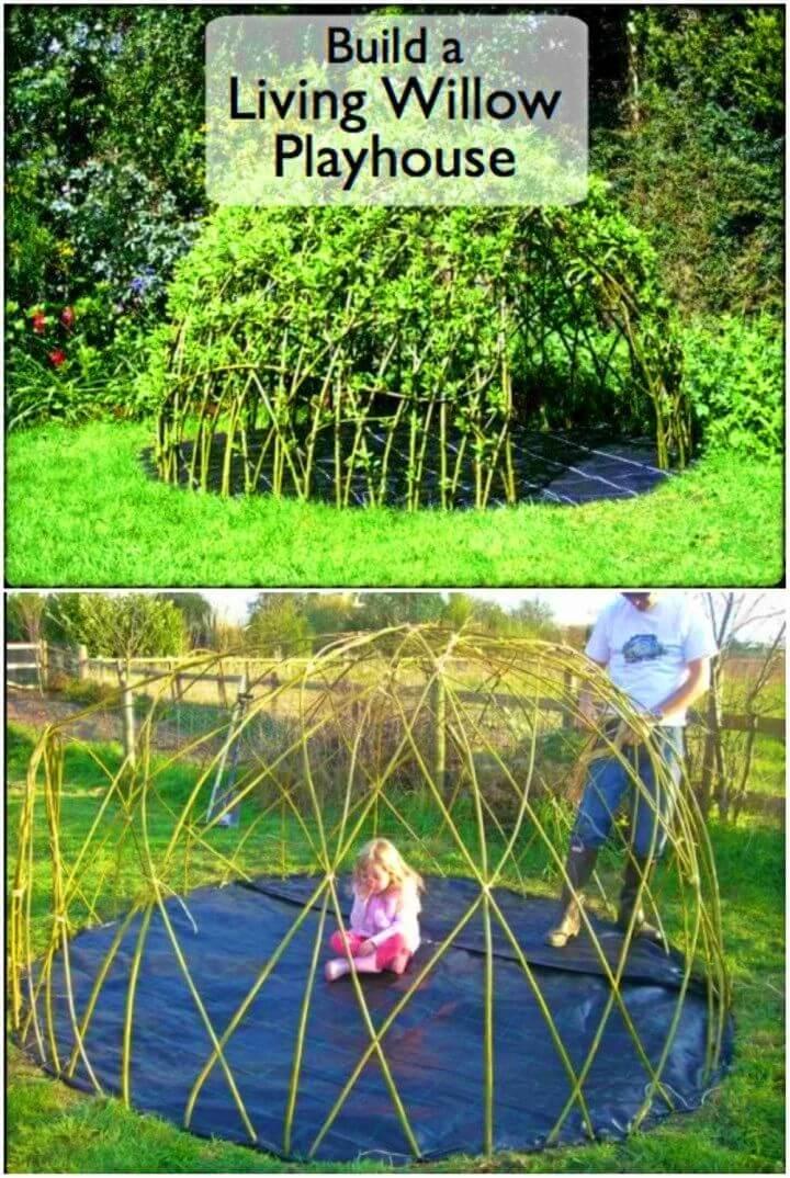 DIY Living Kid's Playhouse from Natural Materials