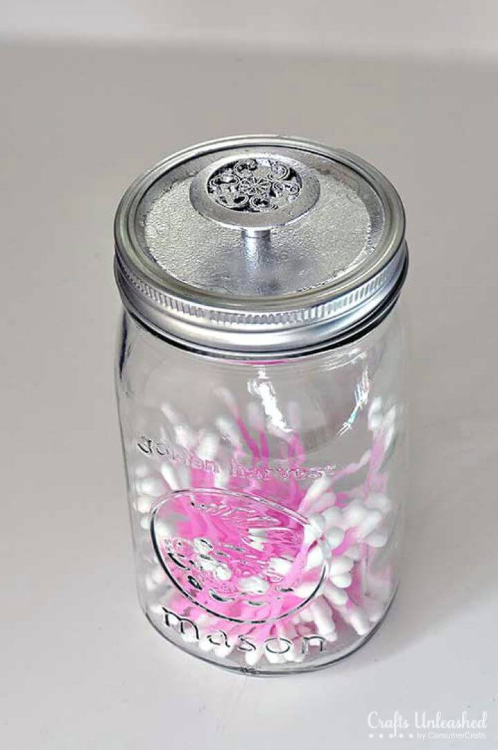 DIY Mason Jar Storage Containers with Silver Leaf Knobs