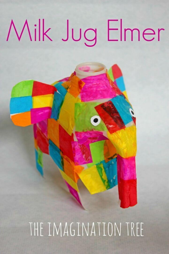 DIY Milk Jug Elmer Elephant Craft