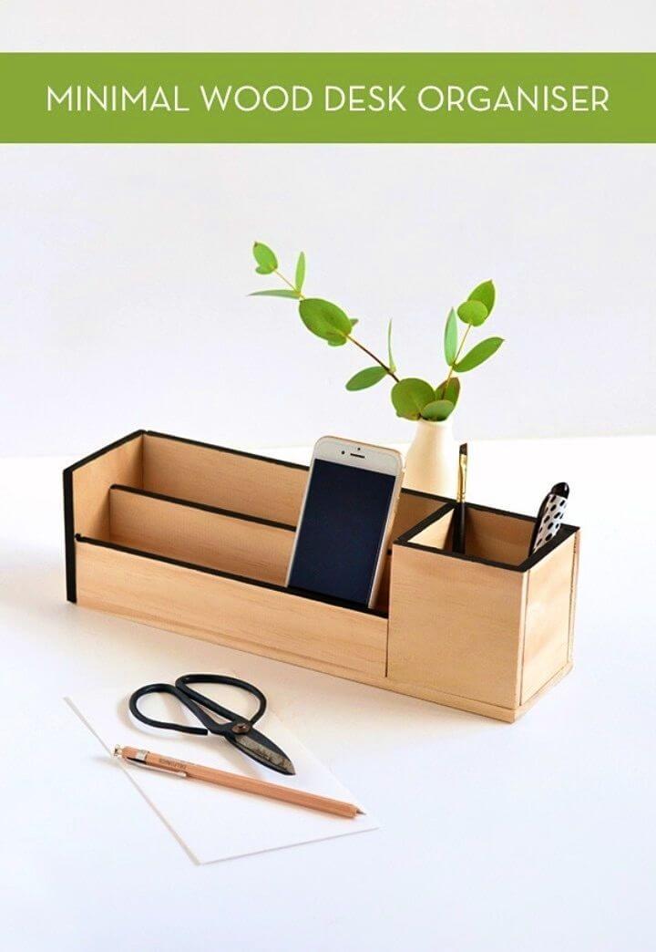 DIY Minimal Wood Desk Organizer