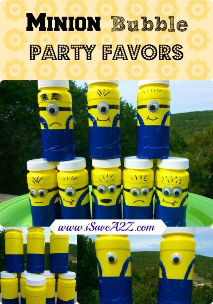 DIY Minion Bubble Party Favors