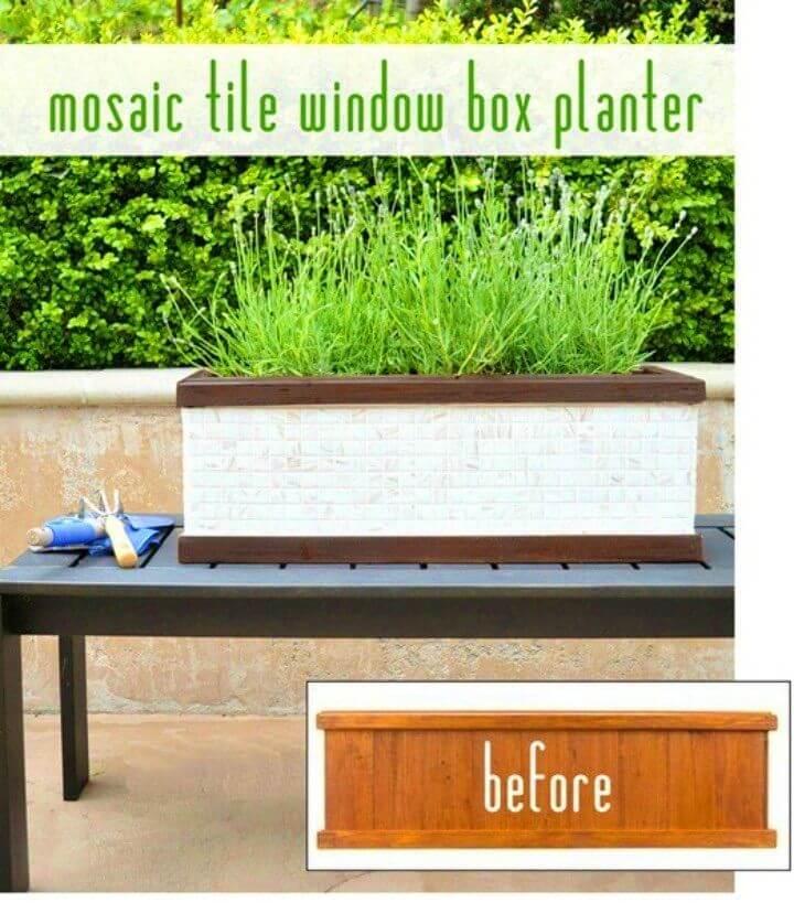 DIY Mosaic Tile Window Box Planter