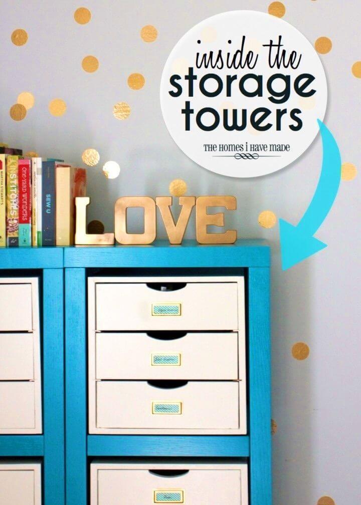 DIY Office Craft Storage Towers