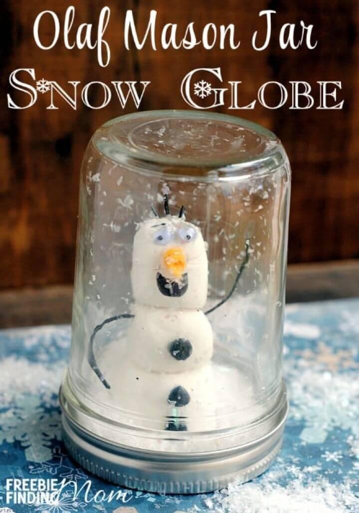 DIY Olaf Mason Jar Snow Globe