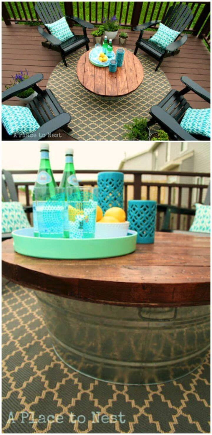 DIY Outdoor Coffee Table With Metal Bucket Base
