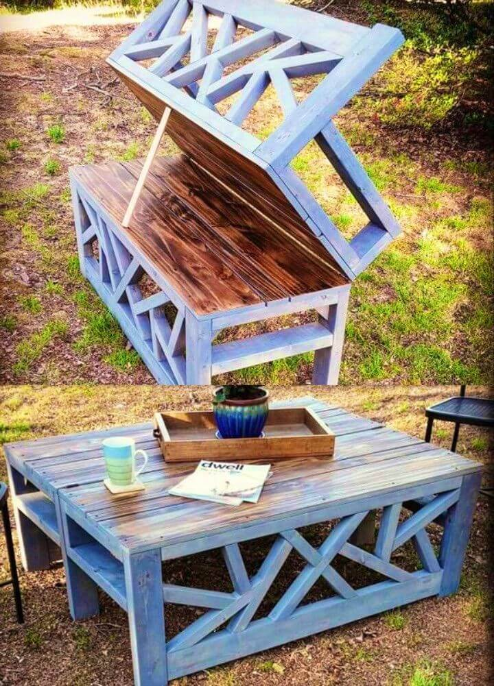 DIY Outdoor Convertible Coffee Table And Bench