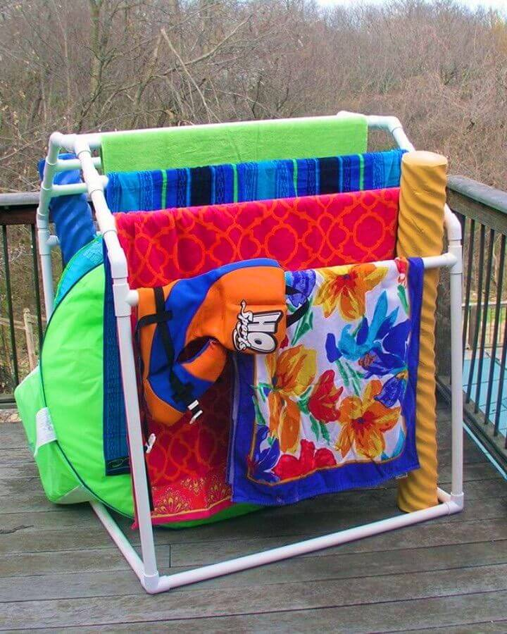 DIY PVC Pool Towel Rack