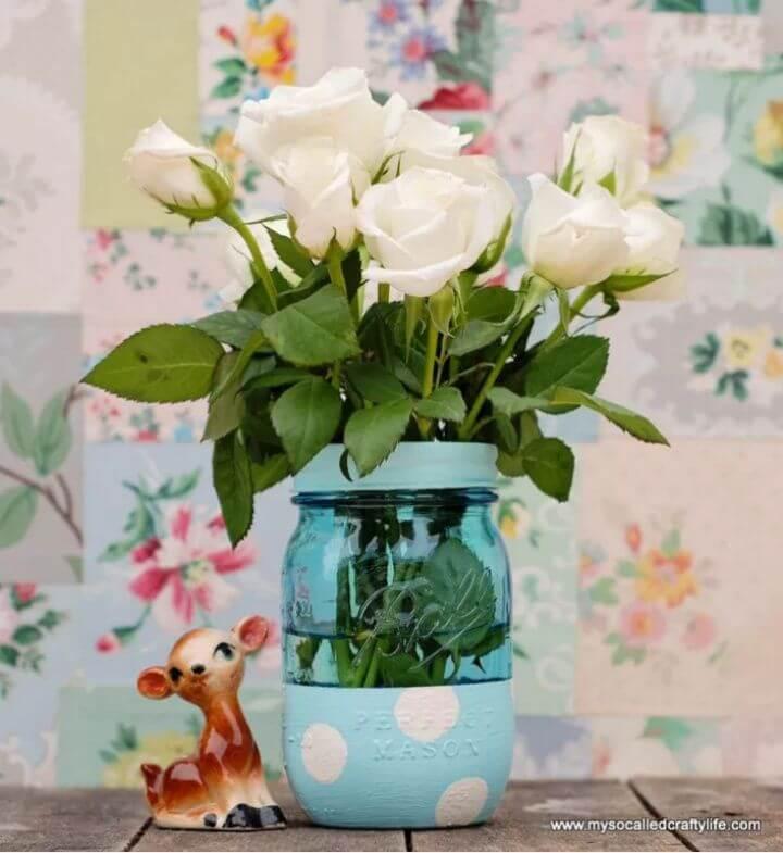 DIY Painted Mason Jar Vase