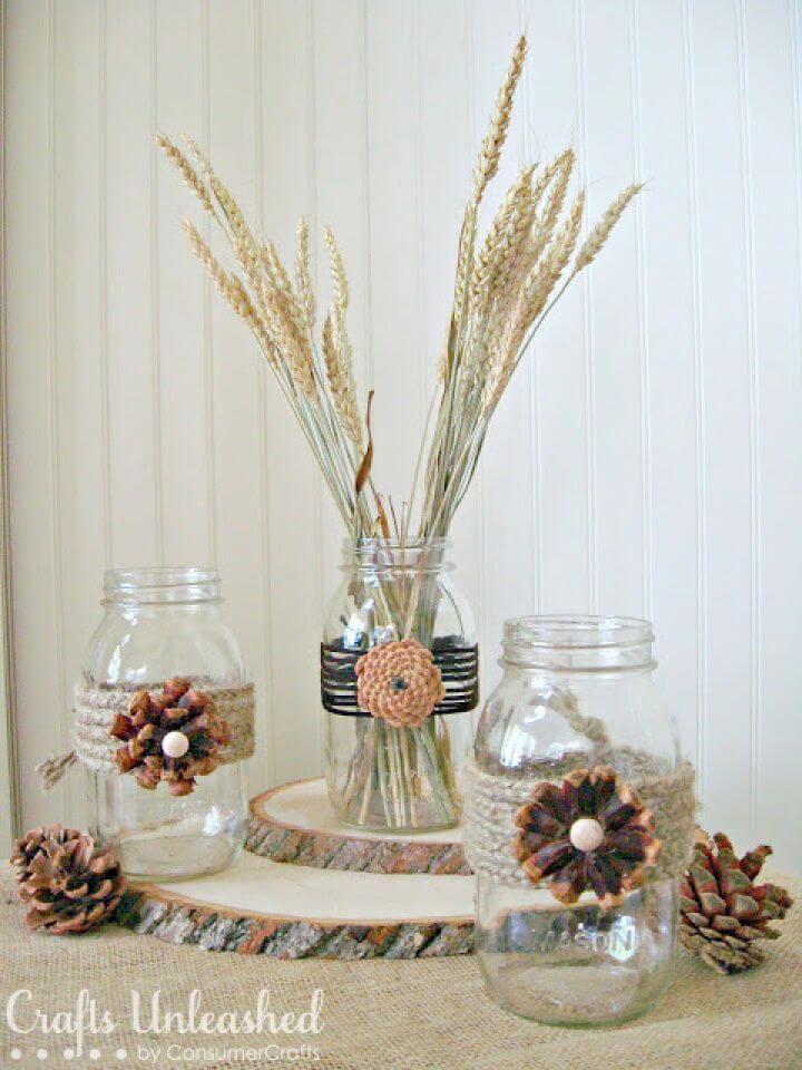 DIY Pine Cone Flower Embellished Mason Jars