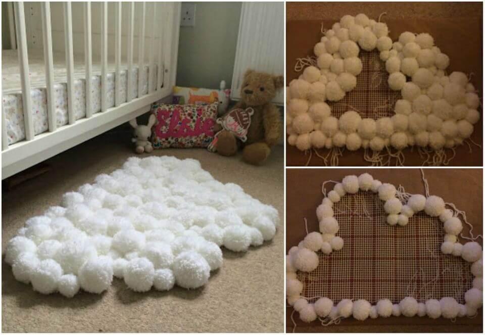 DIY Pom pom Cloud Rug for Childs Bedroom