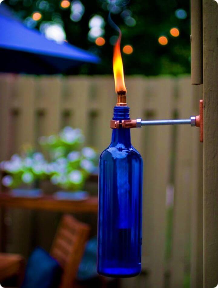 DIY Recycled Wine Bottle Torch Garden Lights