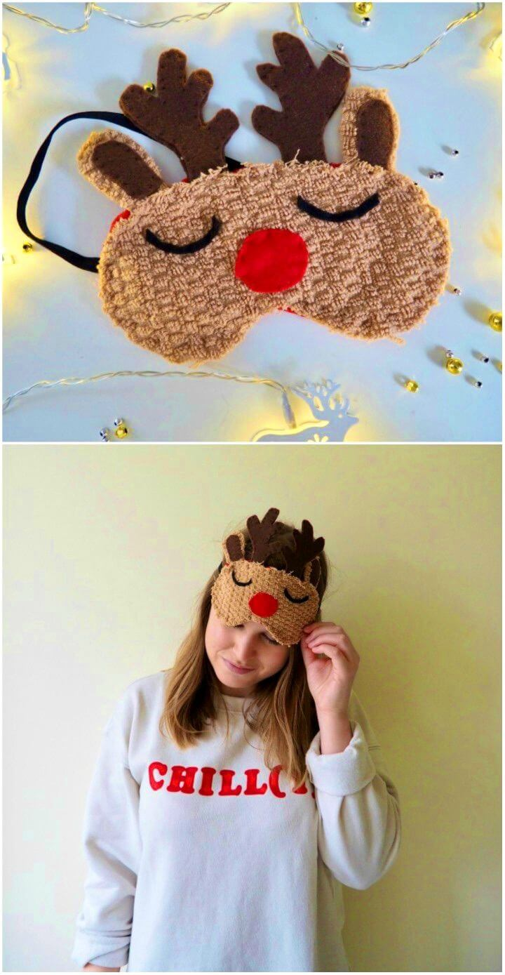 DIY Reindeer Sleep Mask for a Holiday Gift