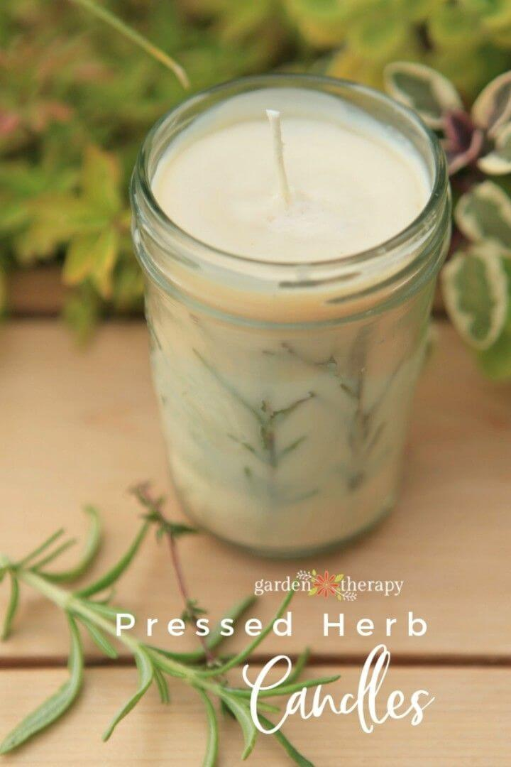 DIY Rosemary Pressed Herb Candles