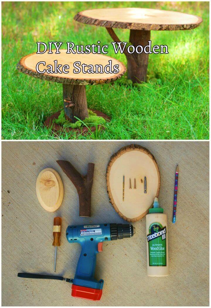 DIY Rustic Wooden Cake Stands