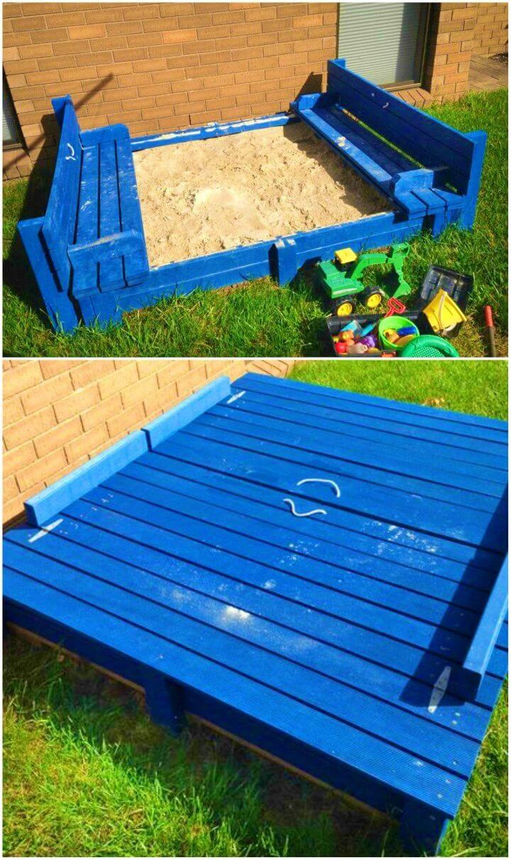 DIY Sandpit with Integrated Bench Seats