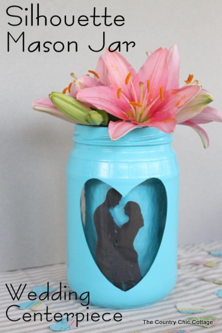 DIY Silhouette Mason Jar Wedding Vase Centerpiece