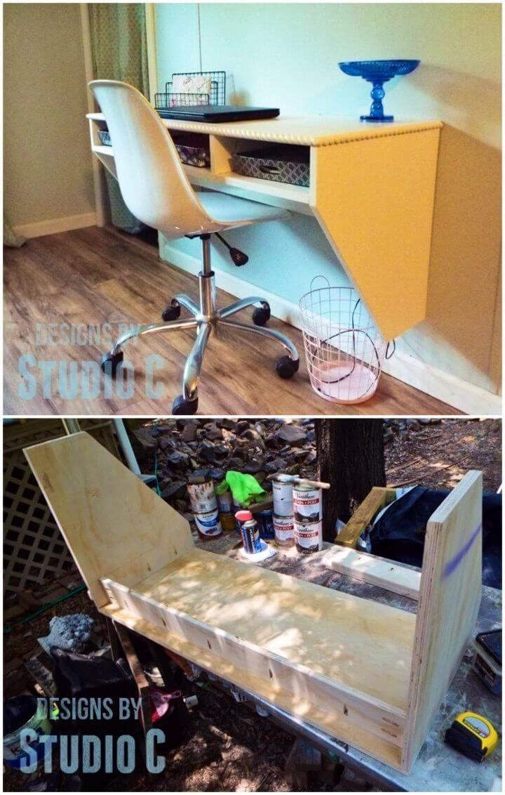 DIY Space Saving Wall Mounted Desk