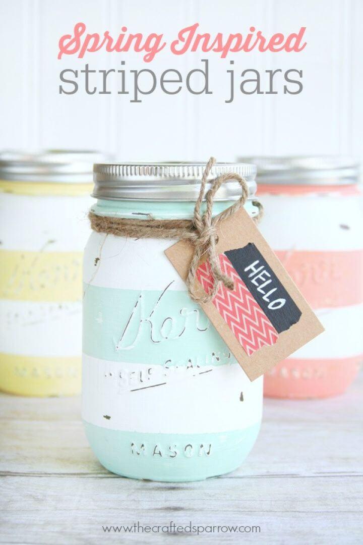 DIY Spring Inspired Striped Jars