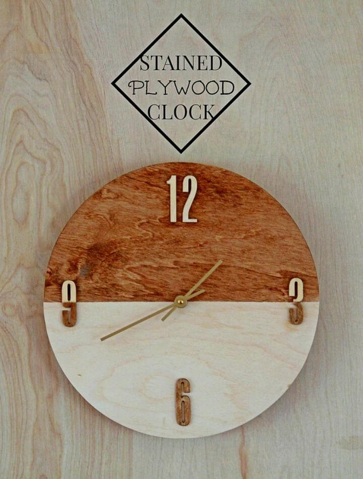 DIY Stained Plywood Wall Clock