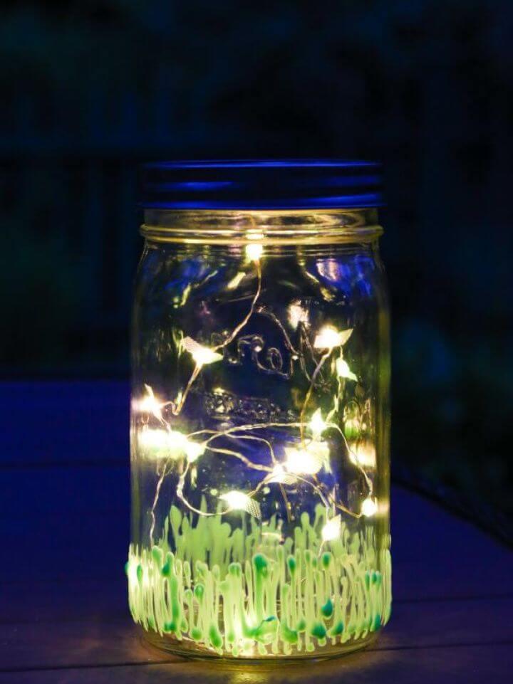 DIY Sweet Illuminated Firefly Mason Jar Lantern