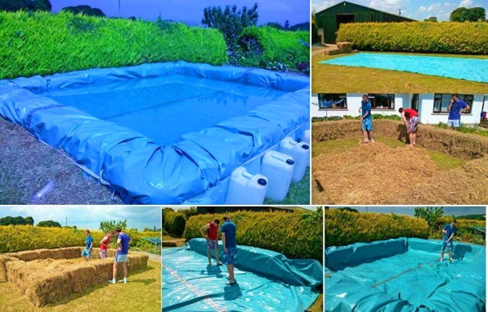 DIY Swimming Pool From Bales Of Hay
