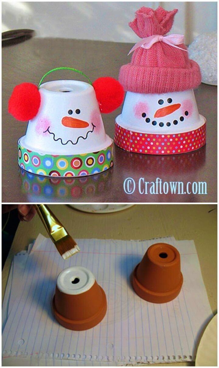 DIY Terra Cotta Pot Snowman