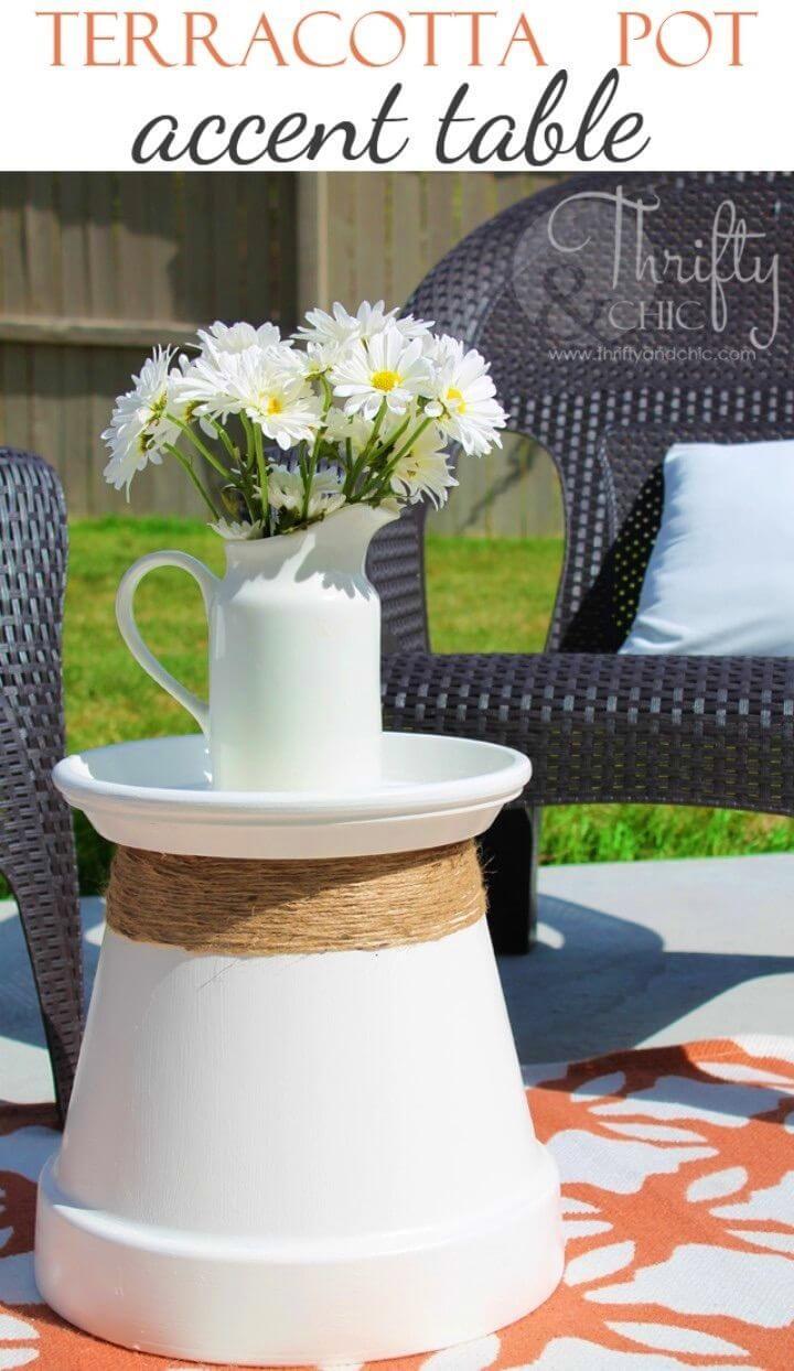 DIY Terracotta Pot Repurposed Into Accent Table
