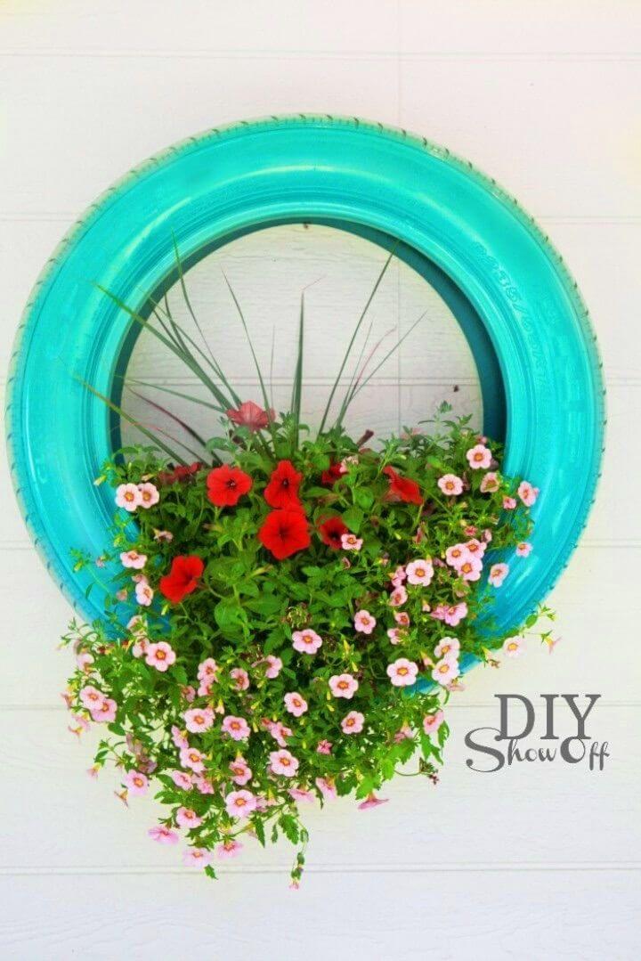 DIY Tire Flower Planter For Backyard