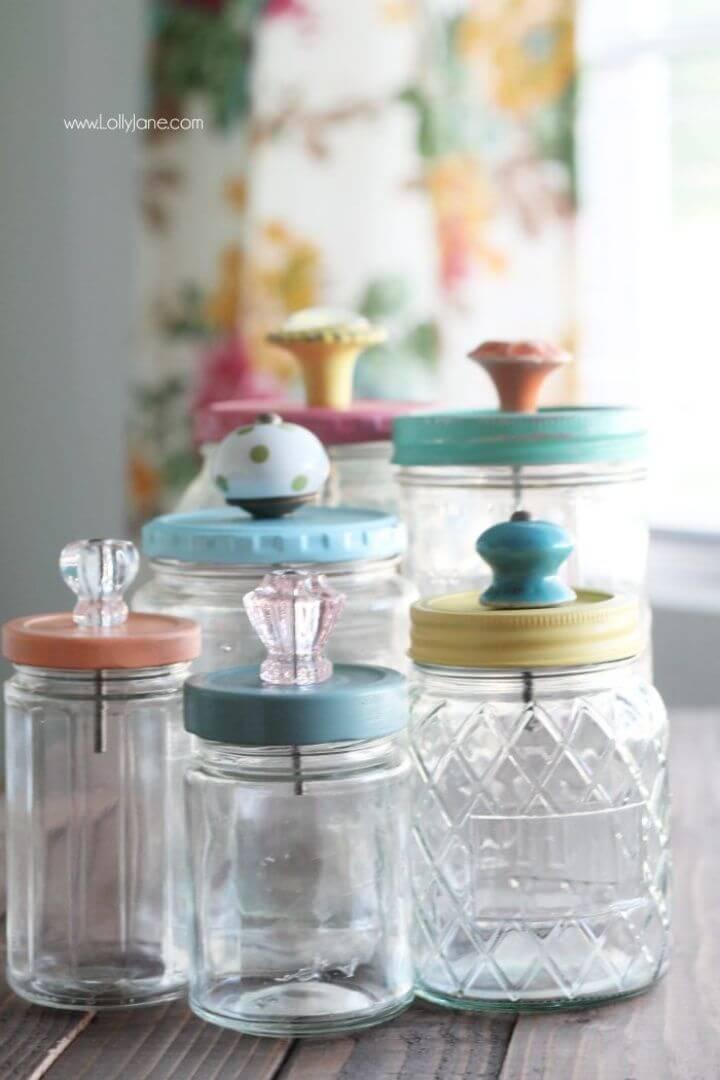 DIY Upcycled Mason Jar with Glass Knob Tops