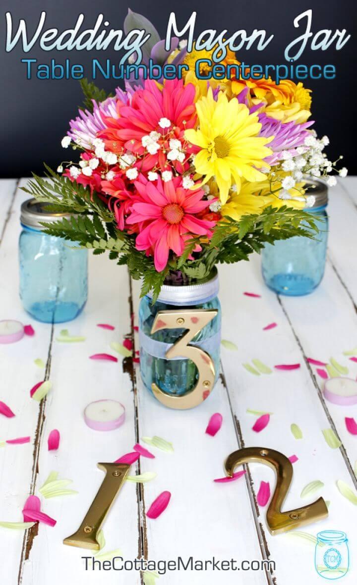 DIY Wedding Mason Jar Table Number Centerpiece