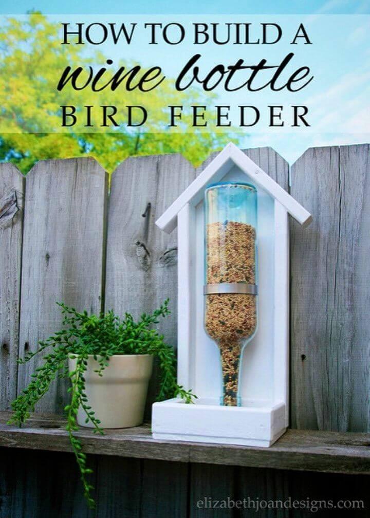 DIY Wine Bottle Bird Feeder for Backyard