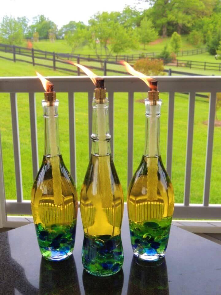 DIY Wine Bottle Tiki Torches Backyard Lights