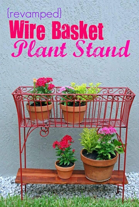 DIY Wire Basket Plant Stands