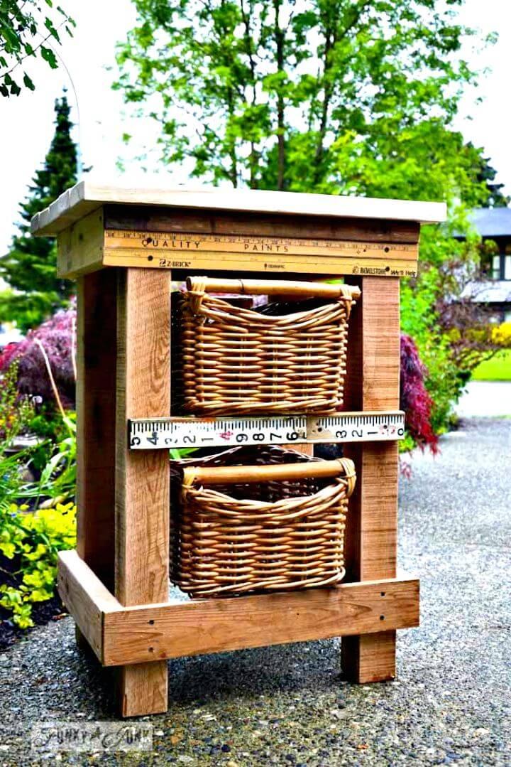 DIY Yardstick Pallet Wood Night Stand