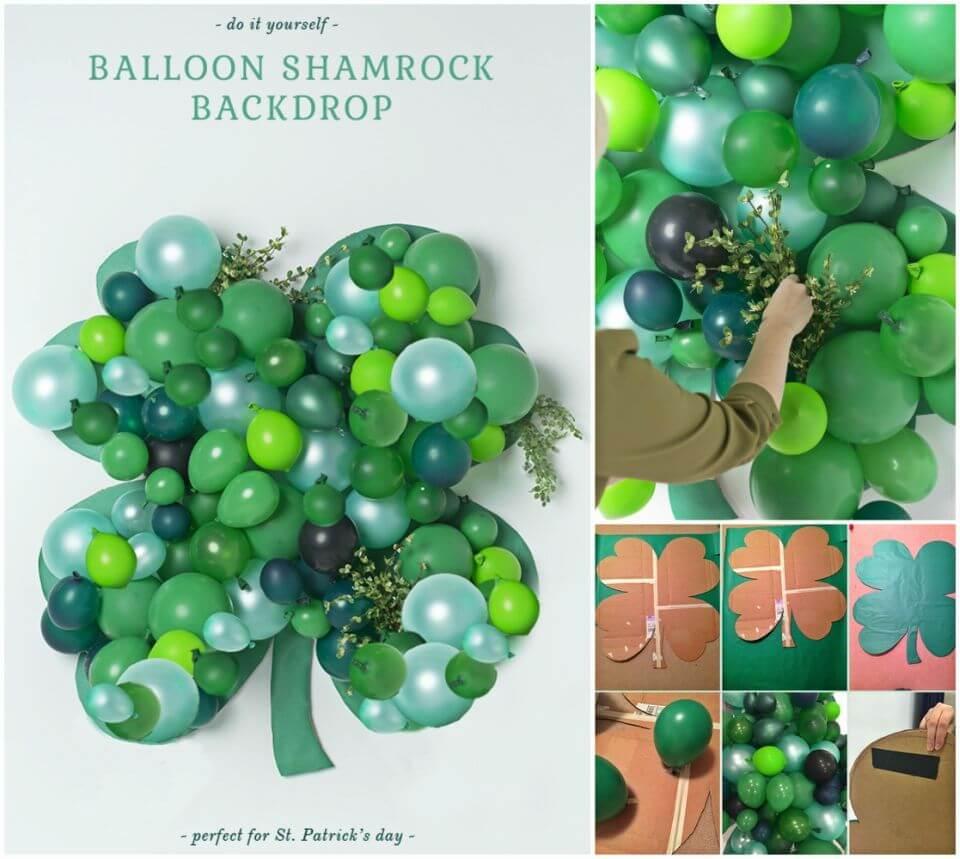 Easy DIY Balloon Shamrock Backdrop