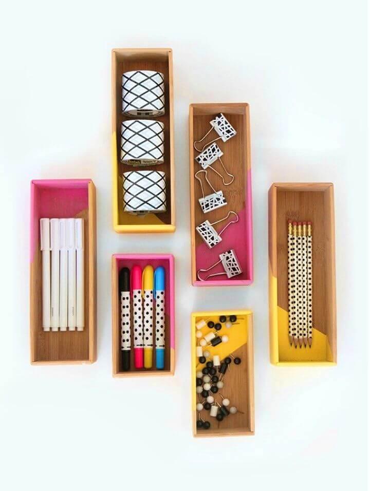 Easy DIY Color Block Box Supplies Storage, DIY, easy DIY, quick DIY, cheap DIY projects, DIY color blocks, color blocks, DIY color block art, color block technique, DIY box, DIY box supplies storage, DIY small storage, students, college.