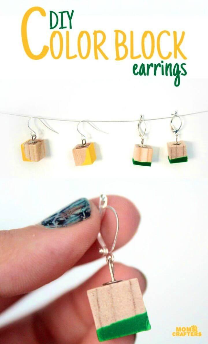Easy DIY Color Block Earrings, DIY, easy DIY, quick DIY, cheap DIY projects, DIY color blocks, color blocks, DIY color block art, color block technique, DIY earrings, DIY color block earrings, DIY jewelry, DIY fashion.