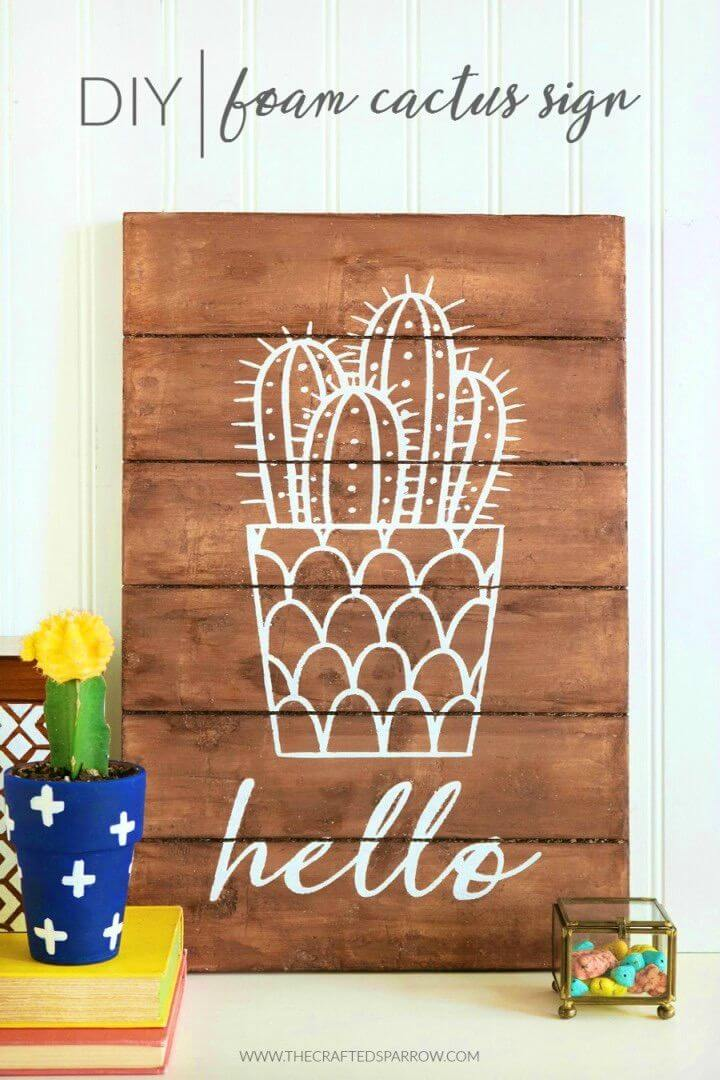 Easy DIY Foam Cactus Sign for Adults