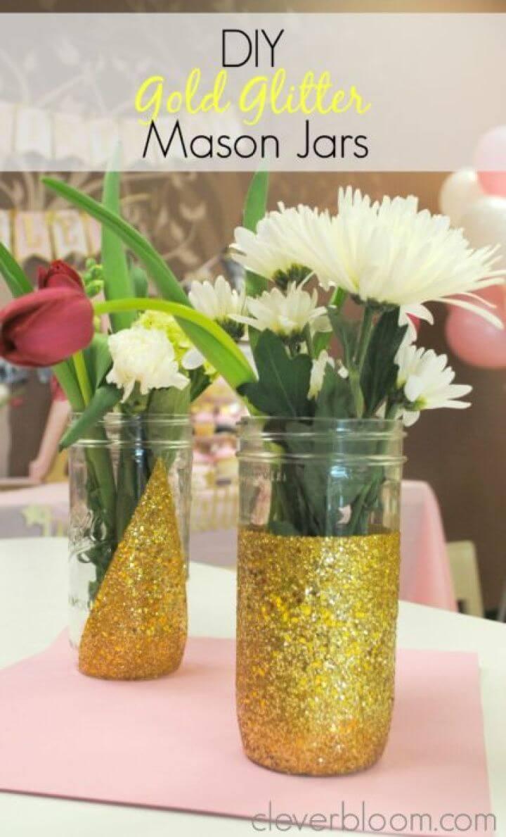 Easy DIY Gold Glitter Mason Jars